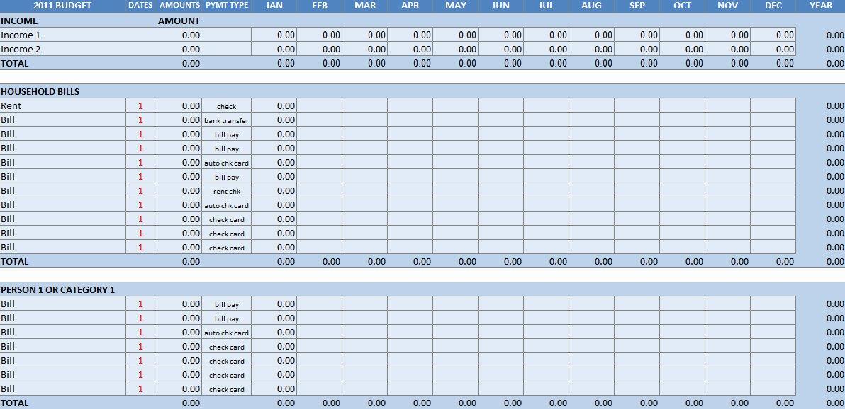 Household Bud Worksheet Excel Template