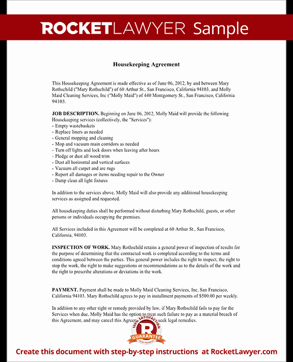 Housekeeping Contract Agreement Template with Sample