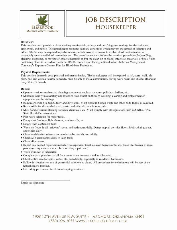 Housekeeping Description for Resume Best Resume Gallery