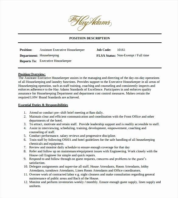 Housekeeping Job Duties Resume