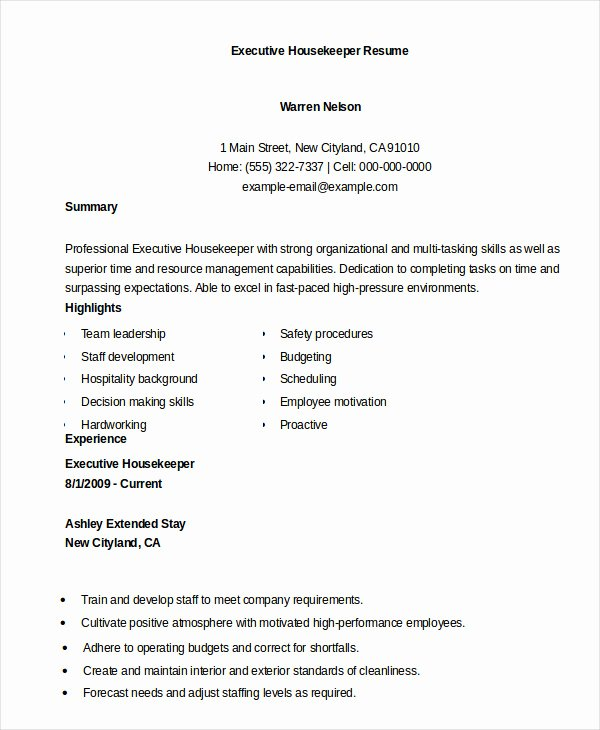 Housekeeping Resume Example 9 Free Word Pdf Documents