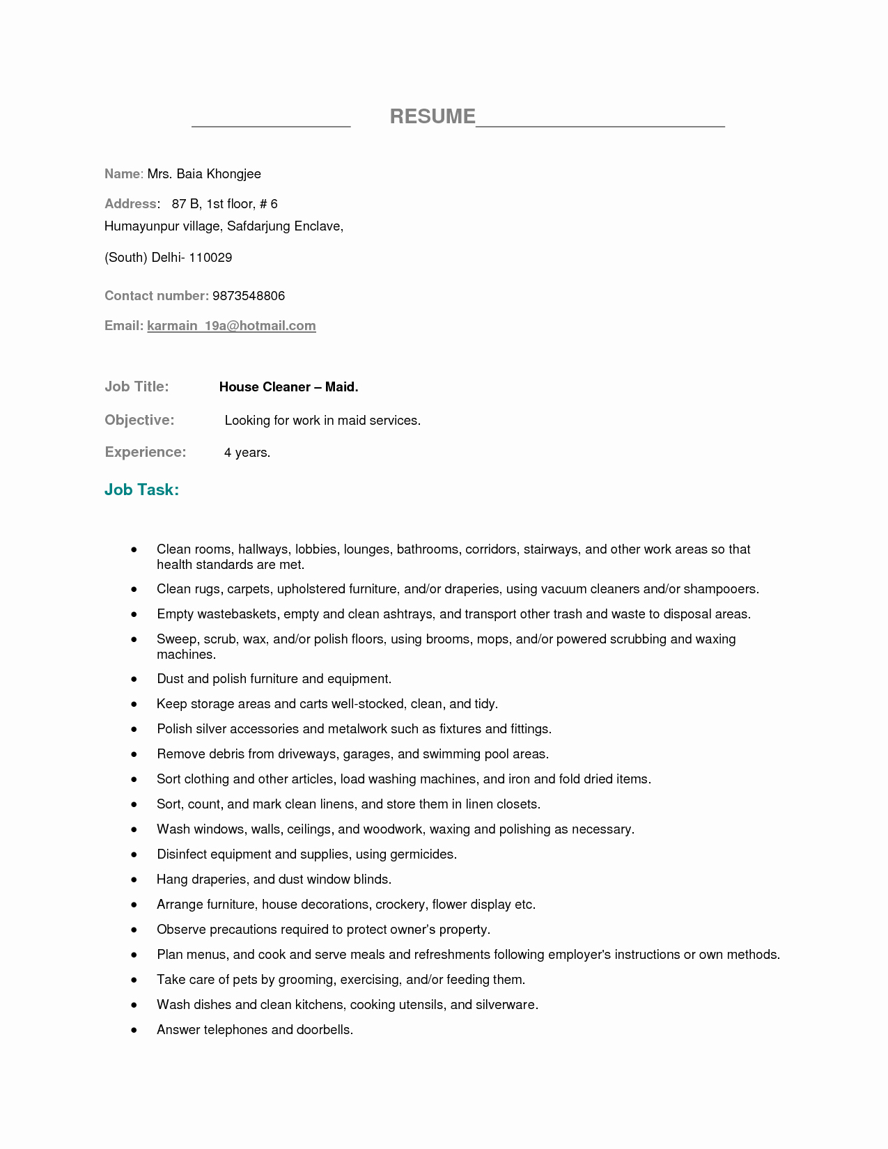 Housekeeping Skills Resume Template Room attendant No