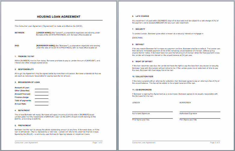 Housing Loan Contract Template – Microsoft Word Templates