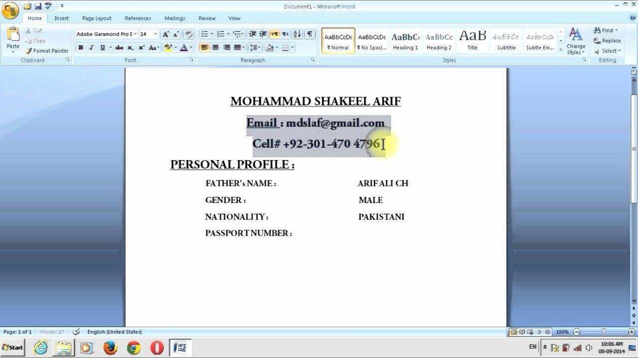 How Can I Make My C V In My Home In Ms Word Urdu toturial