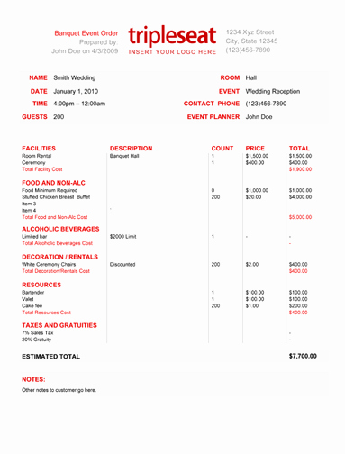 How to Create A Banquet event order Template