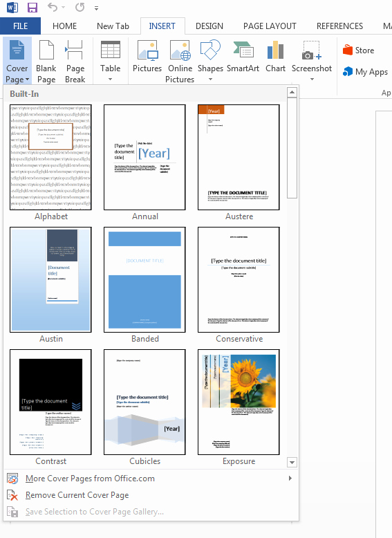 How to Create A Cover Page In Microsoft Word 2013