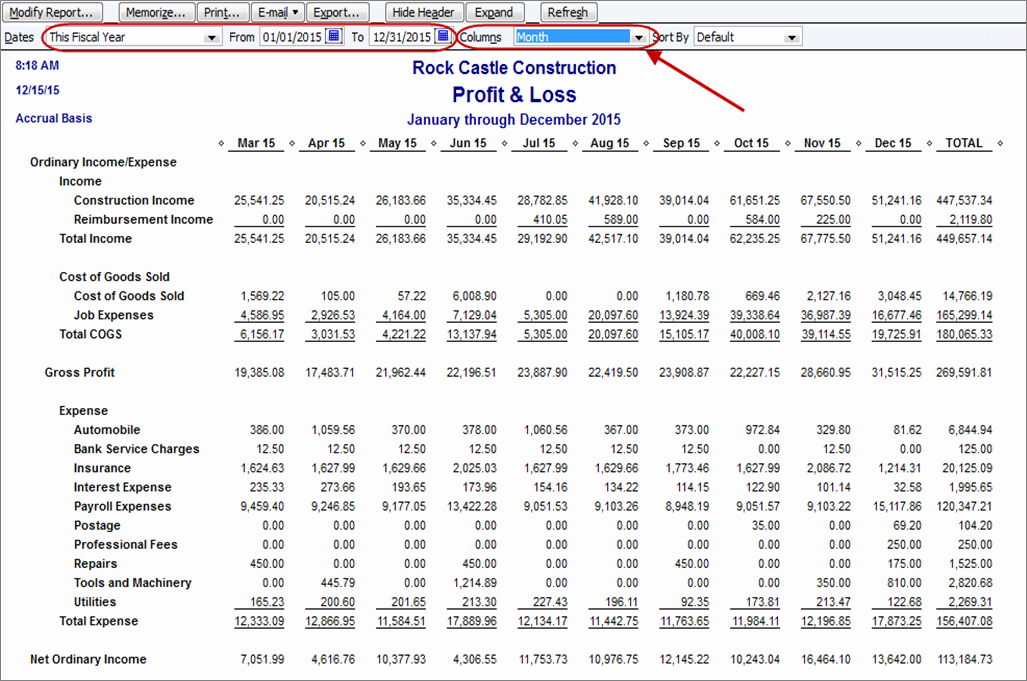 How to Create A Monthly Profit & Loss Report In Quickbooks