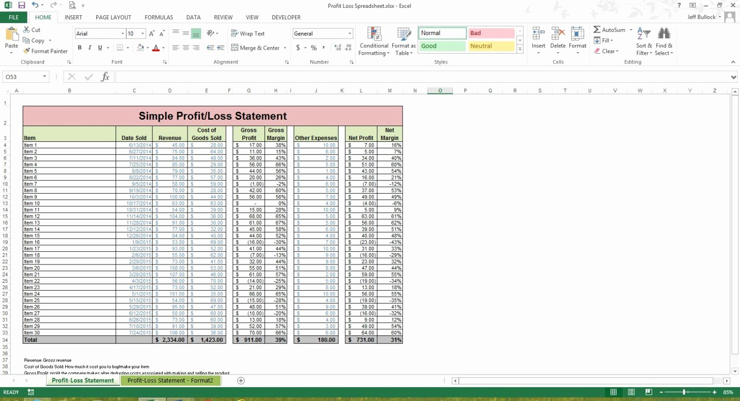 How to Create A Profit and Loss Statement In Excel 2 P&l