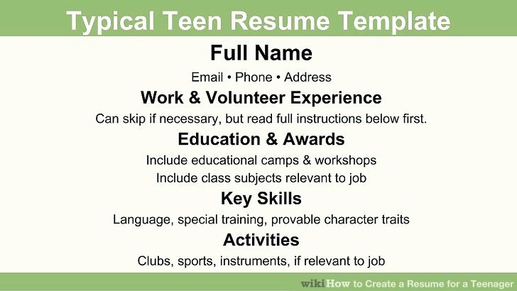 How to Create A Resume for A Teenager 13 Steps with