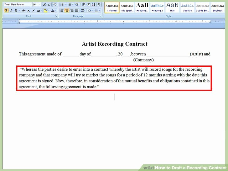 How to Draft A Recording Contract with Wikihow