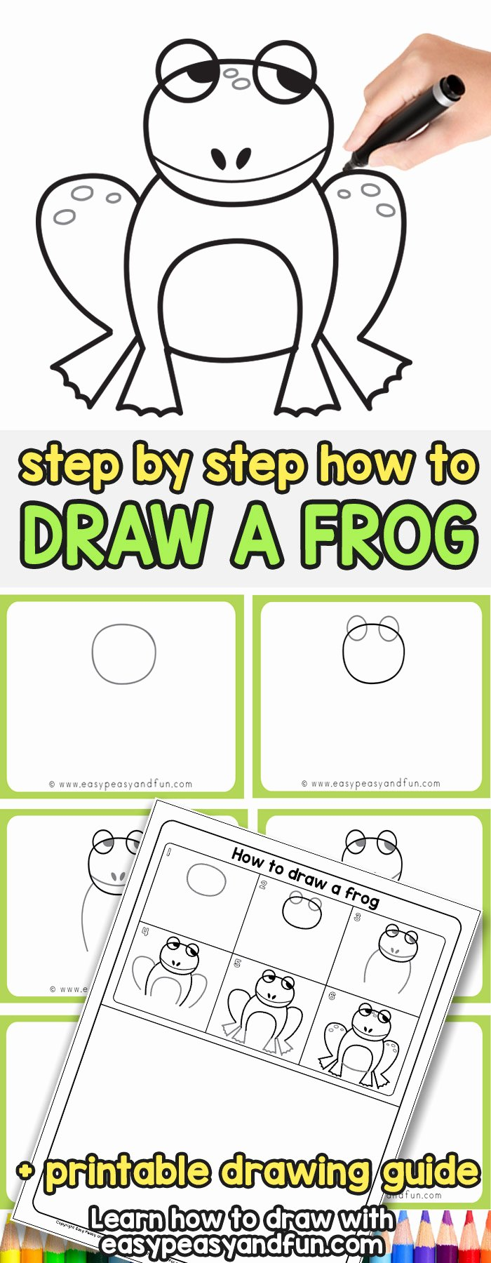 How to Draw A Frog Step by Step Drawing Instructions
