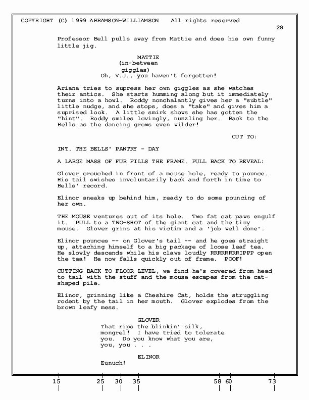 How to format An Animation Screenplay Sample Page