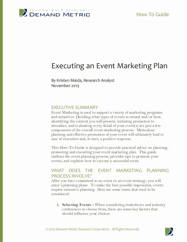 How to Guide Executing An event Marketing Plan