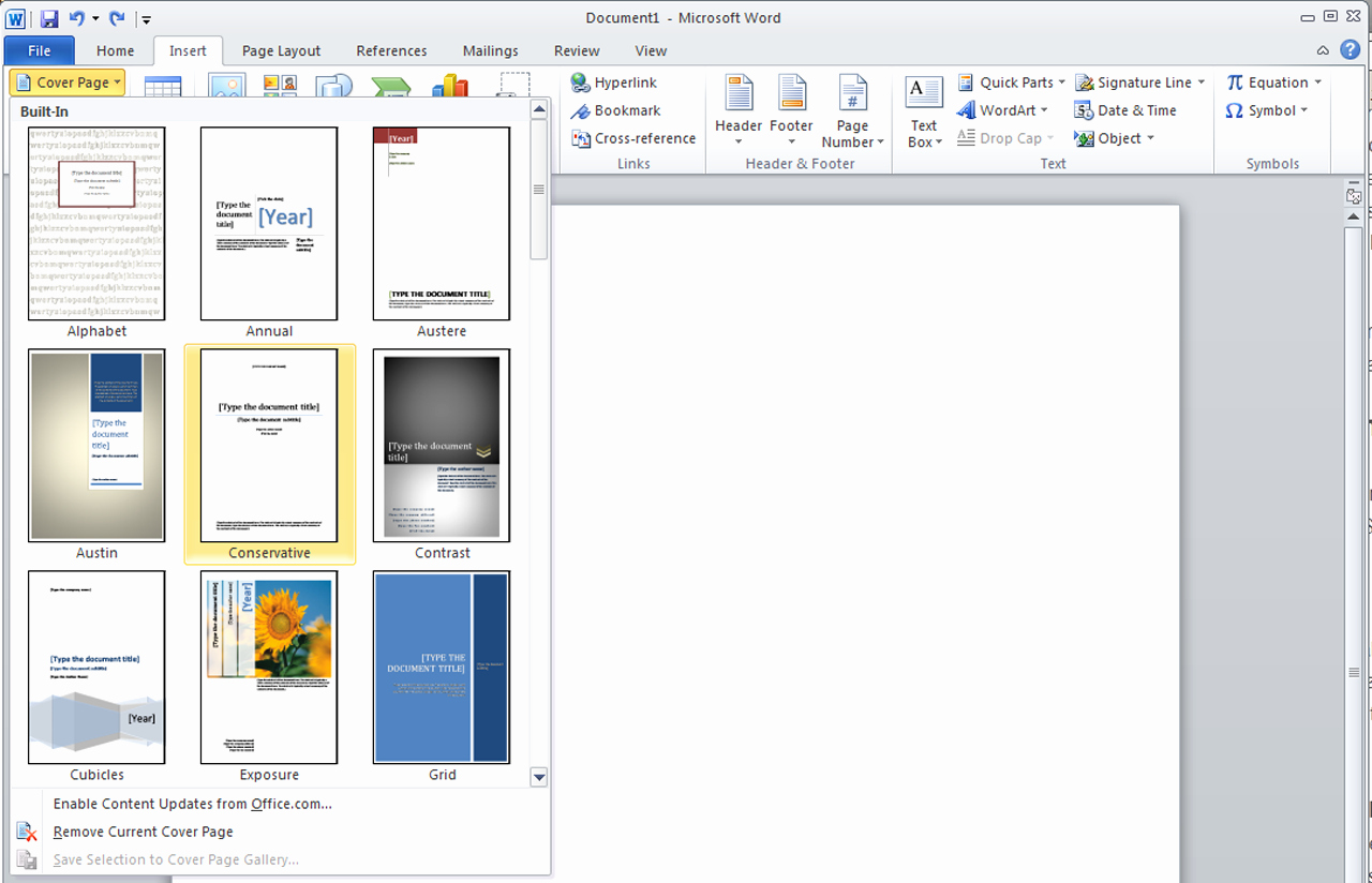 how to insert a cover page template in word003