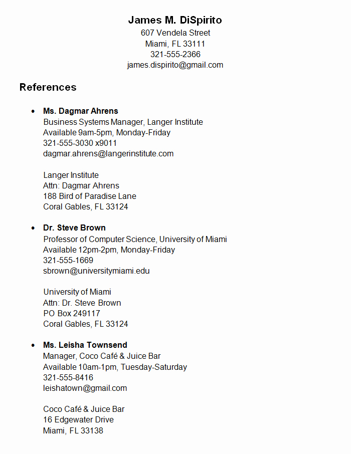 How to List References A Resume Best Template Collection