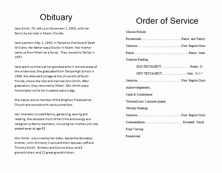 How to Make A Funeral Memorial Program – Template