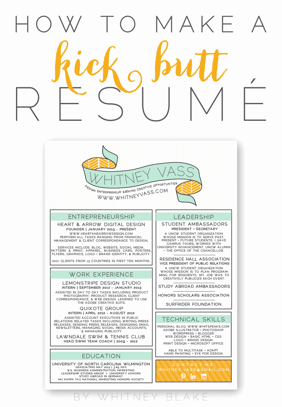How to Make A Kick butt Resumé Pinterest