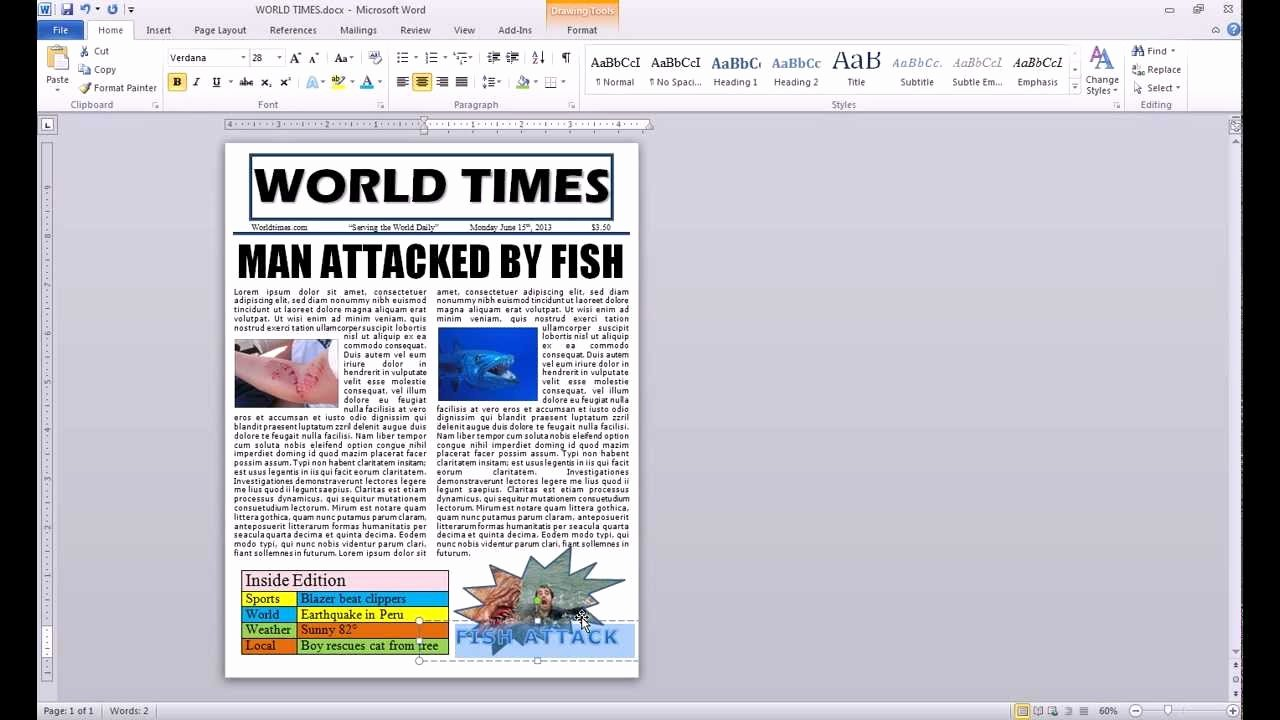 How to Make A Newspaper Article Template Microsoft Word