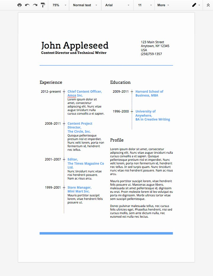 create an eye catching resume in google docs cms