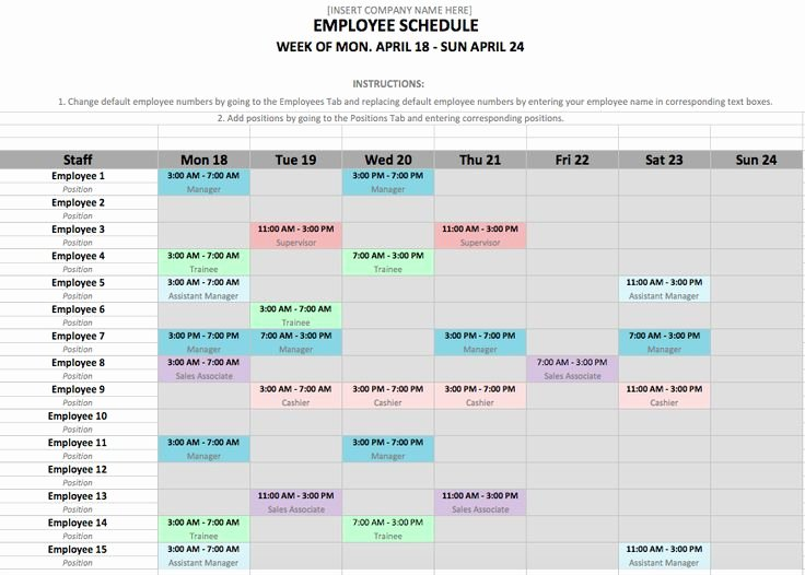 How to Make A Work Schedule for Employees Free – Printable