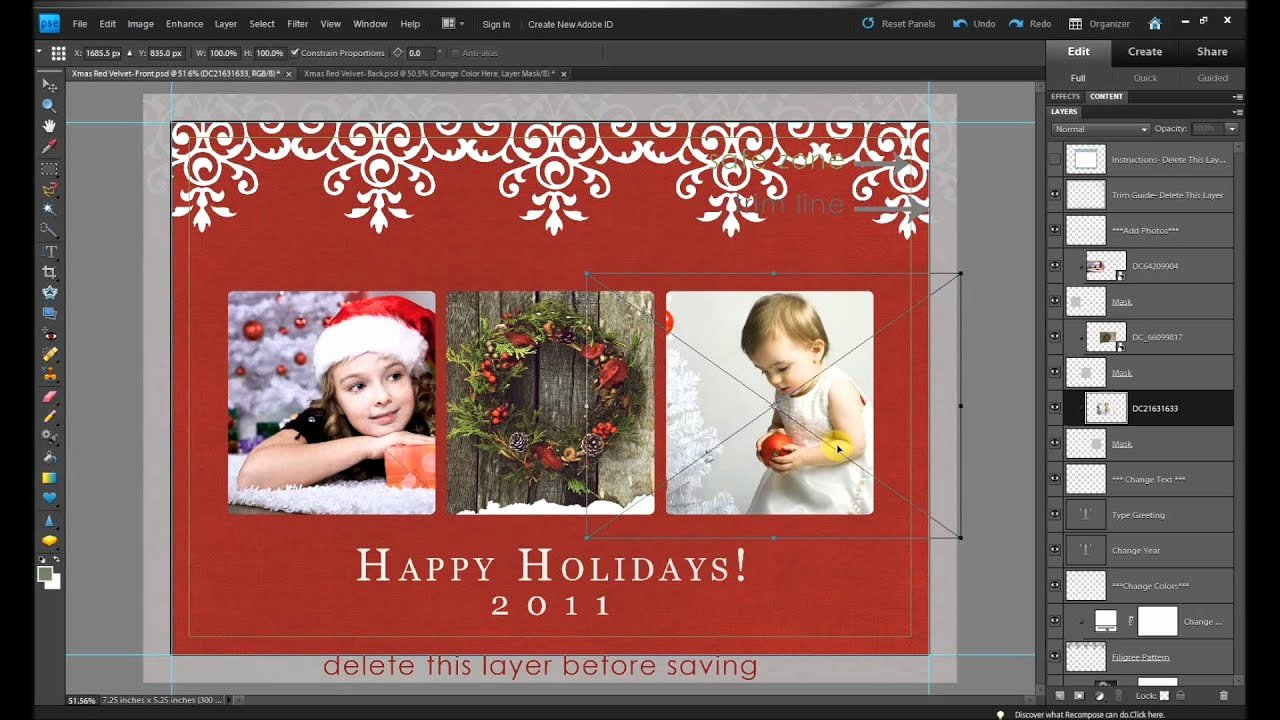 How to Make Free Holiday Christmas Card Edits In Shop
