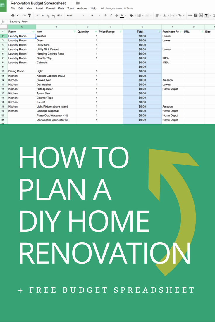 How to Plan A Diy Home Renovation Bud Spreadsheet