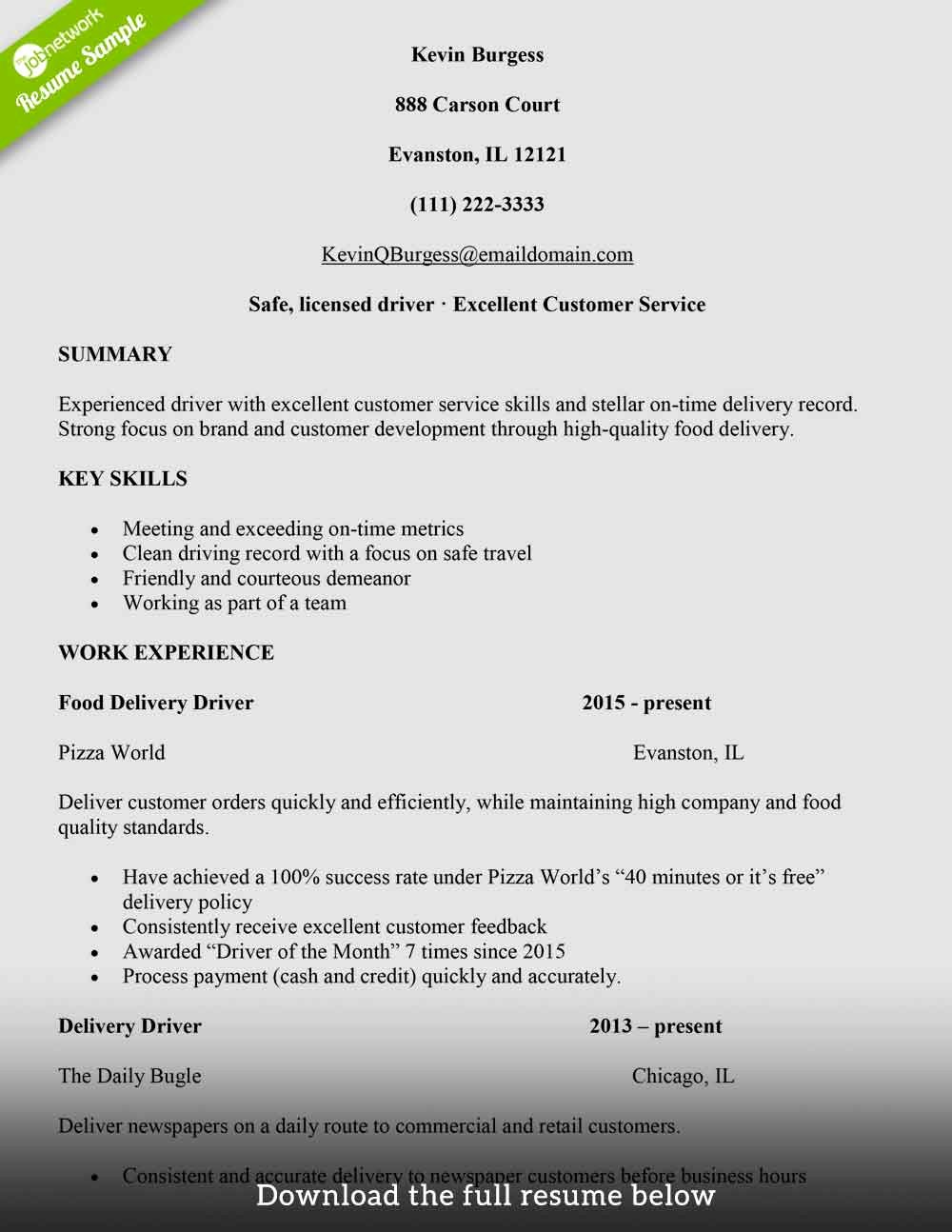 How to Write A Delivery Driver Resume with Examples the