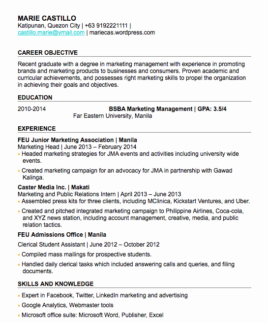 how to write fresh grad resume no experience