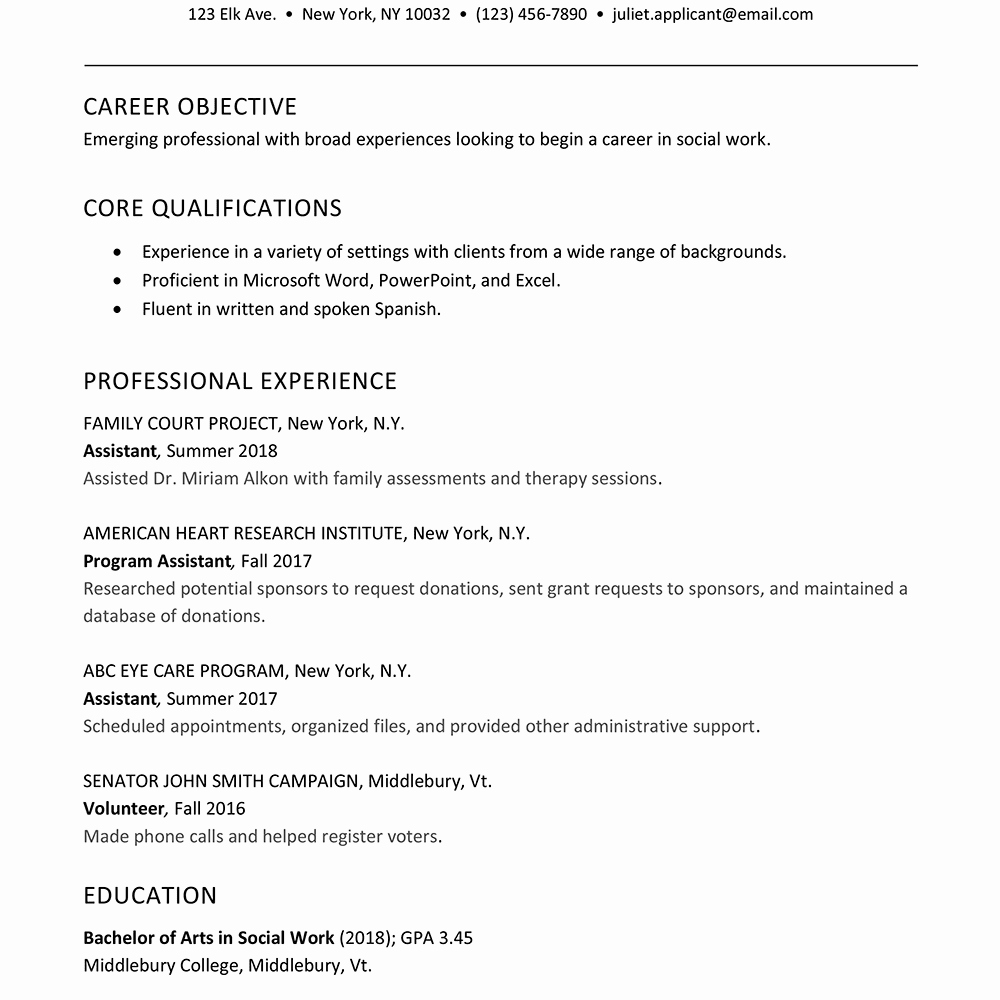 How to Write A Great Internship social Work Resume