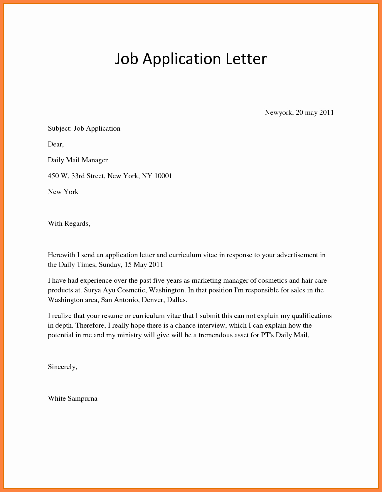 How to Write A Job Letter Cover Letter Samples Cover