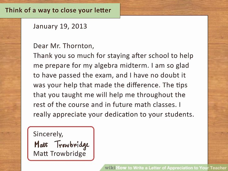 How to Write A Letter Of Appreciation to Your Teacher 13