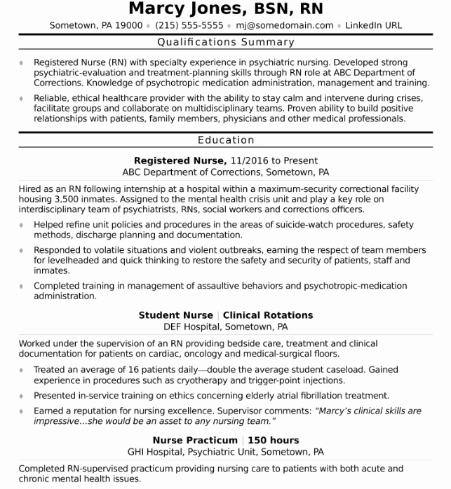 New Grad Nursing Resume Clinical Experience Associates Latter
