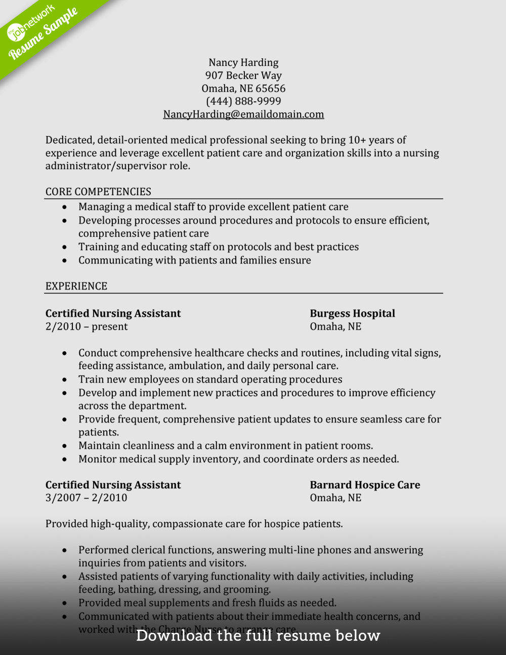 write a perfect cna resume examples included