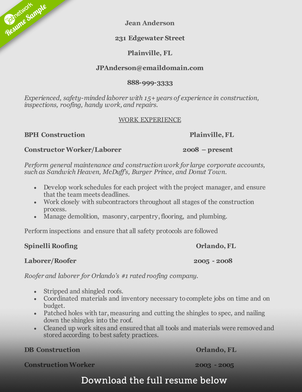 How to Write A Perfect Construction Resume Examples Included
