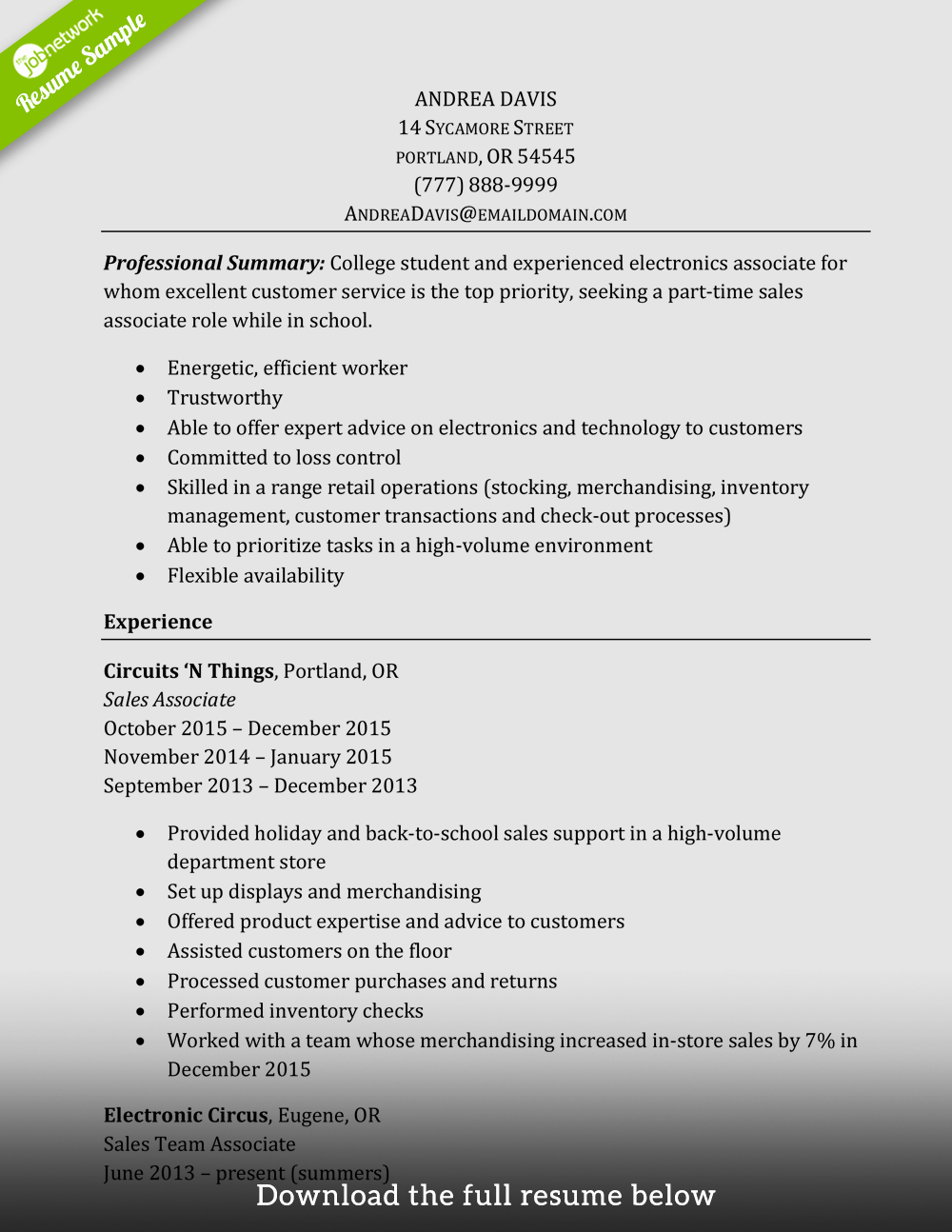 How to Write A Perfect Sales associate Resume Examples