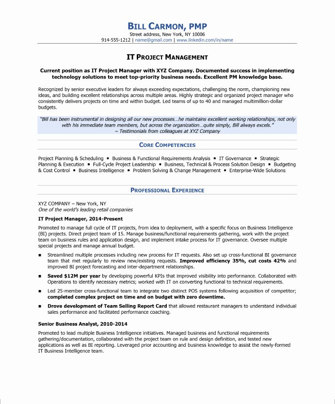 How to Write A Project Manager Resume