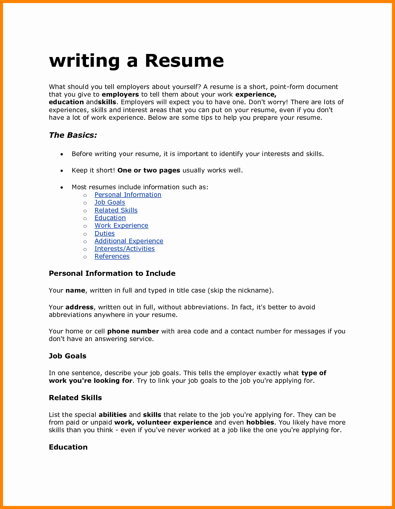 How to Write A Resume for A Job with Experience Cover