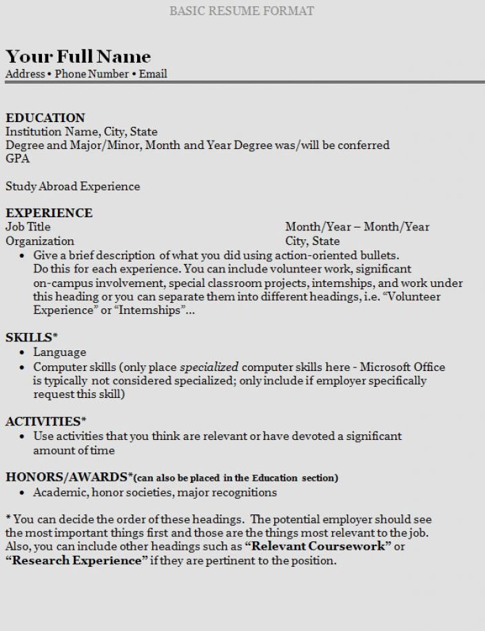 How to Write A Resume for College