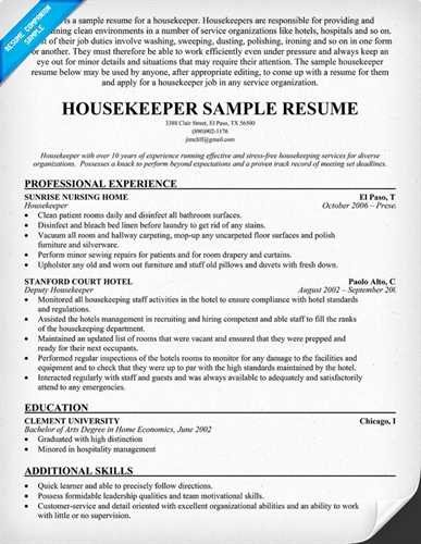 How to Write A Resume for Housekeeper