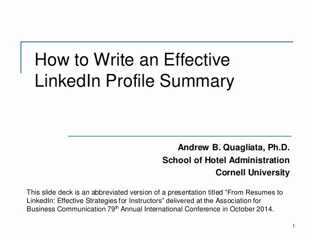 How to Write An Effective Linkedin Profile Summary