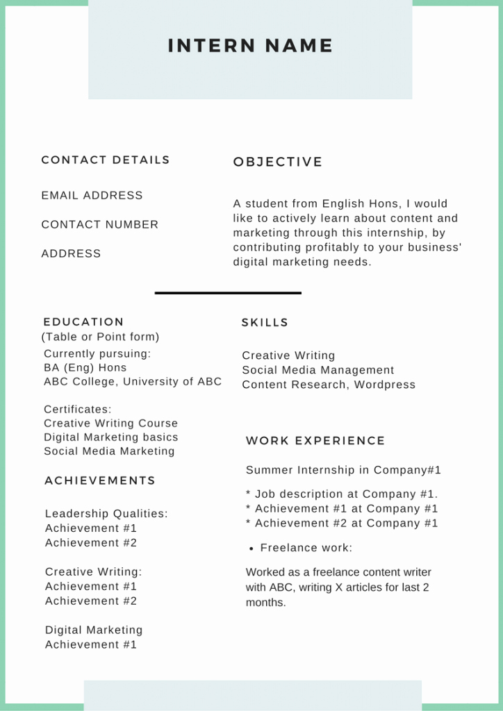 How to Write An Irresistible Intern Resume Plete Guide