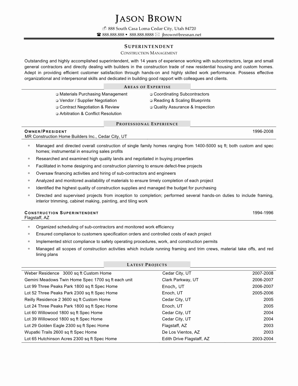 How to Write Example Summary Resume for Construction