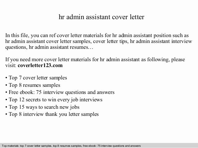 Cover Letter For Hr Assistant Latter Example Template
