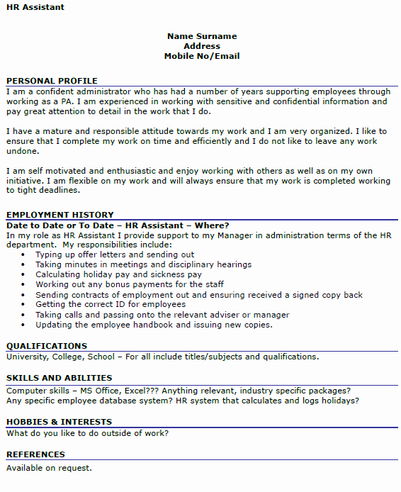 Hr assistant Cv Example Icover
