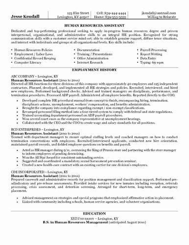 Hr assistant Resume Sample Job Interview & Career Guide