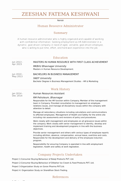 Hr assistant Resume Template