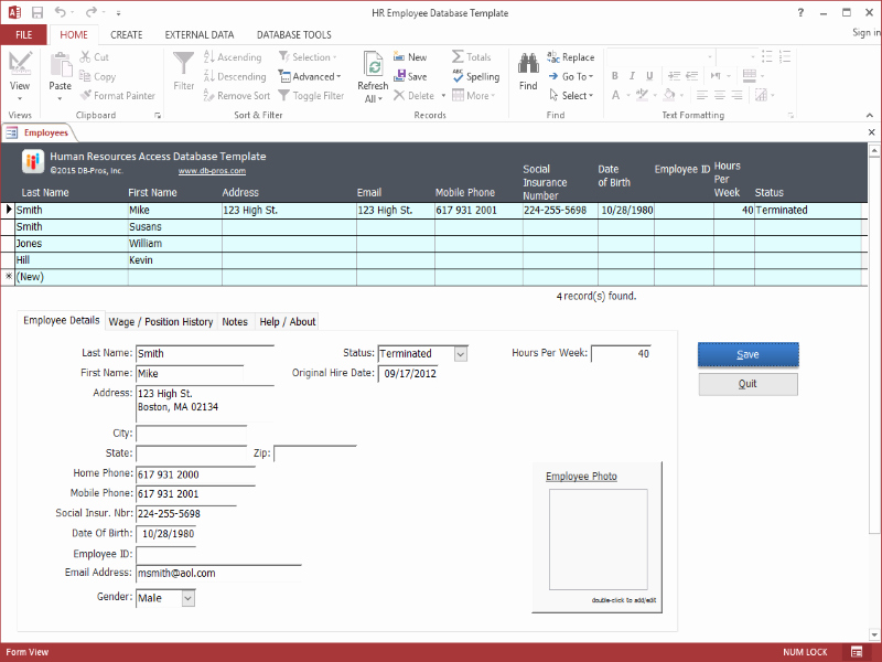 Hr Employee Ms Access Database Template Ware Version