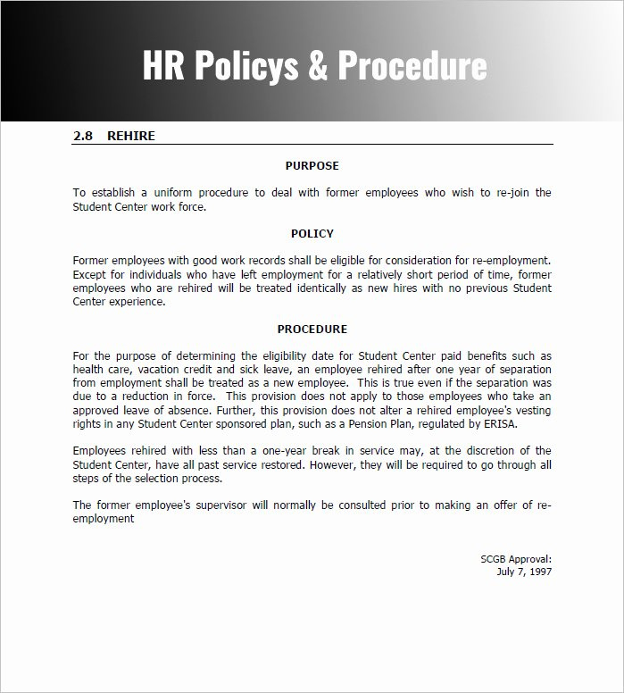 Hr Policy & Procedure Manual Template