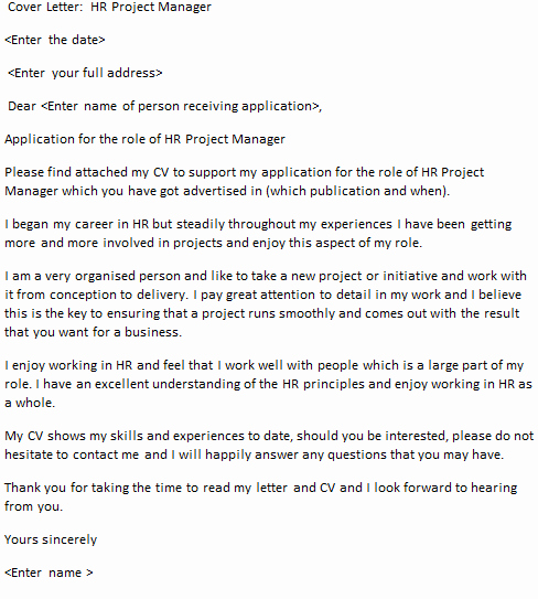 Hr Project Manager Cover Letter Example Icover