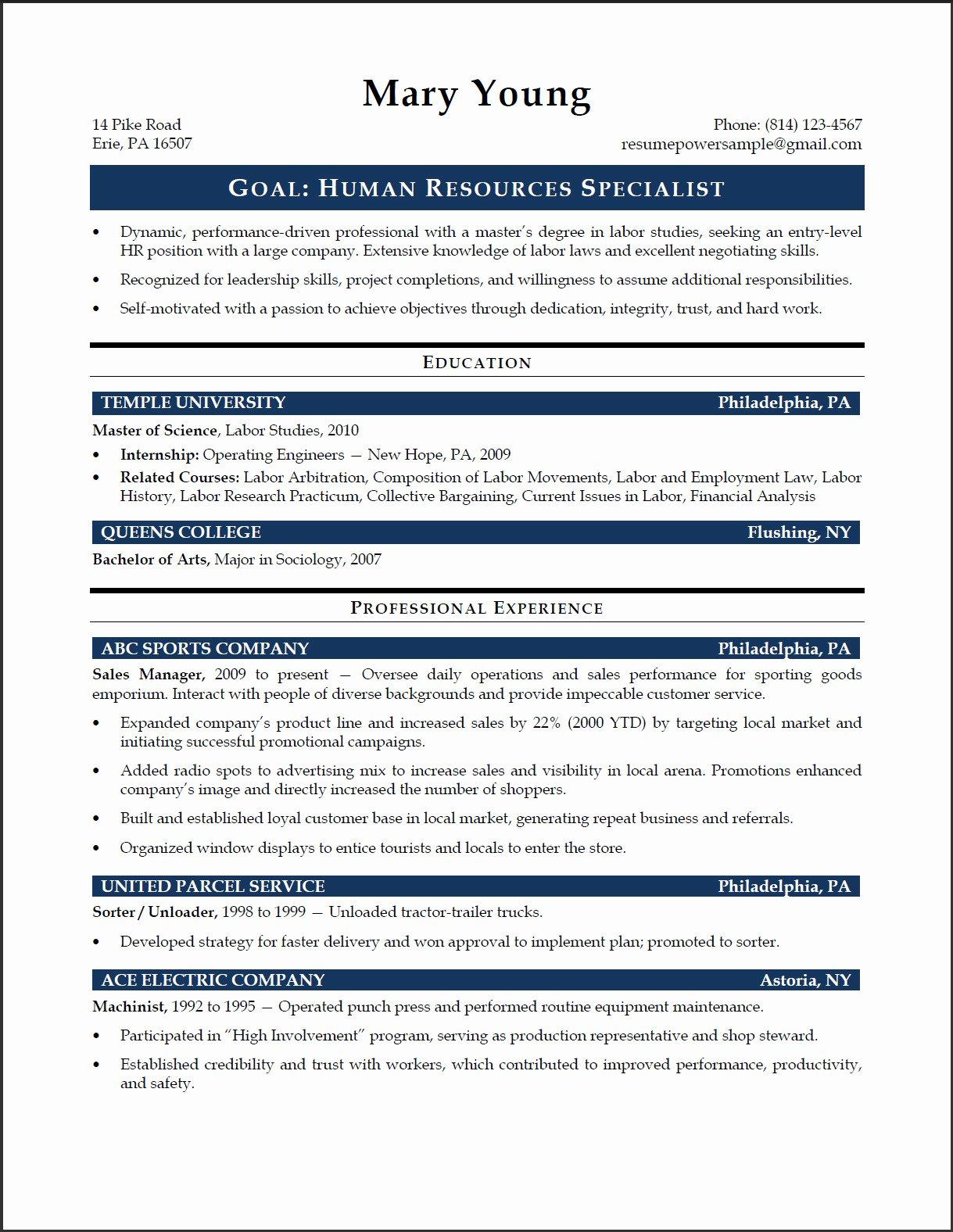 Hr Specialist Sample Resume